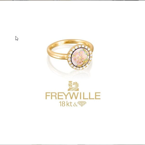 24773 - Freywille 18kt Yellow Gold Diamond & Enamel L'Amandier Amour Infini Ring - Van Gogh