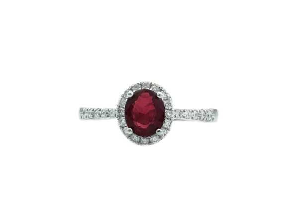 22344 rr10051w 14kt white gold oval ruby .75ct & dia .24ctw ring with halo