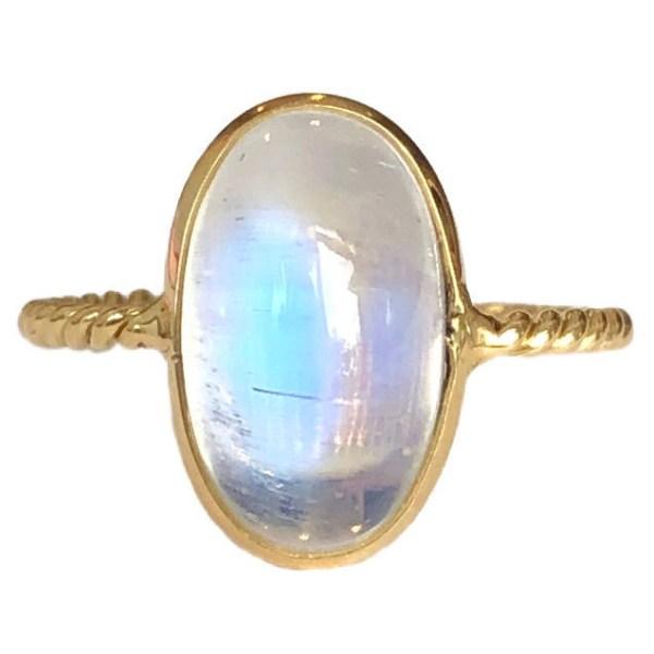 rainbow moonstone bezel set ring