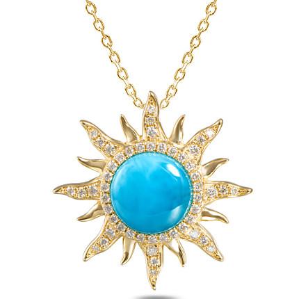 14kt larimar sun pendant with diamonds