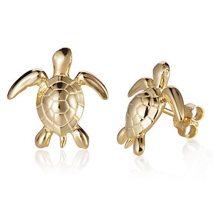 14kt turtle earrings