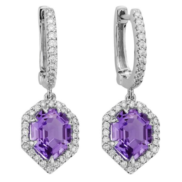 amethyst & diamond huggie dangle earrings