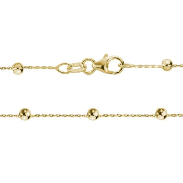gold bead & cable chain necklace