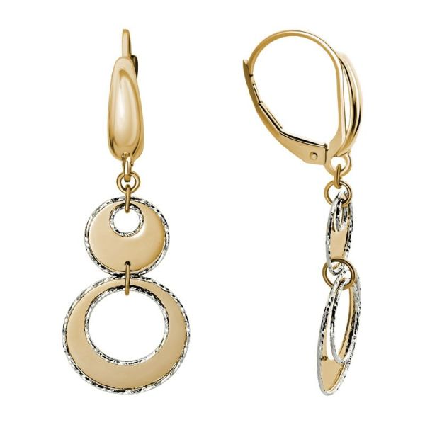 gold cut-out lever back dangle earrings