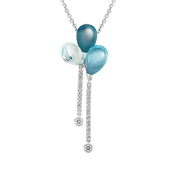 cabachon blue topaz & diamond necklace