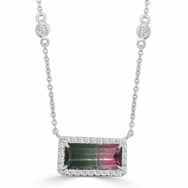 14kt bi-color tourmaline & diamond necklace