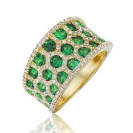 multi row emerald & diamond band