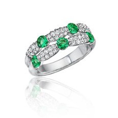double row emerald & diamond band