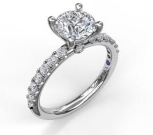 .75 carat round semi-mounting engagement ring
