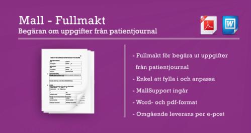 Bild av mall för fullmakt att begära ut uppgifter från patientjournal