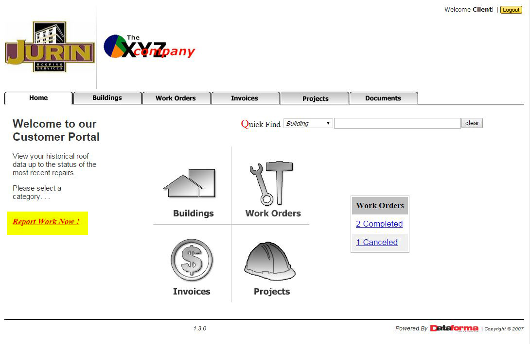 Roofing Client Portal Home Screen