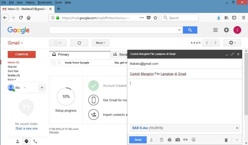 tulis email dan pilih file lampiran