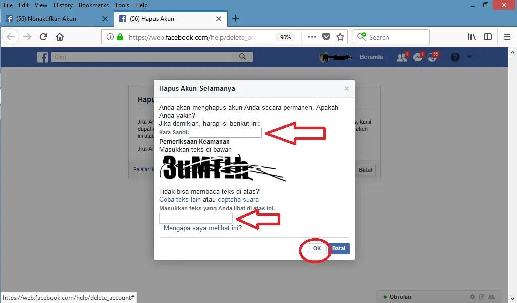 masukkan password facebook kamu klik ok