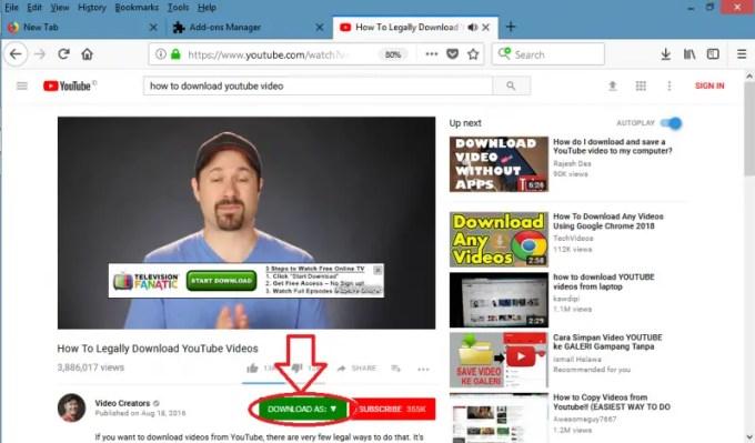 download video menggunakan add on firefox
