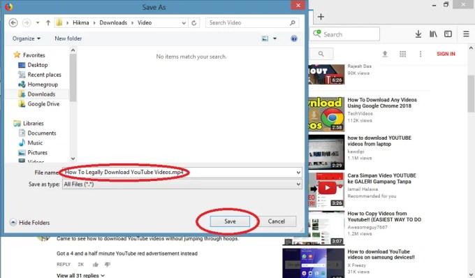 pilih lokasi penyimpanan video youtube