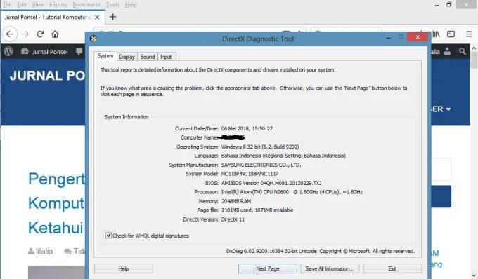 melihat spesifikasi memakai DirectX Diagnostic Tools (dxdiag)