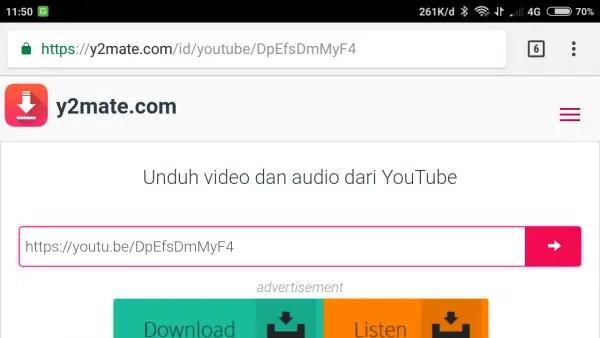 cara menyimpan video di youtube dengan Y2mate