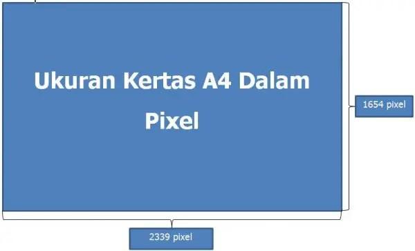 Ukuran kertas A4 dalam pixel