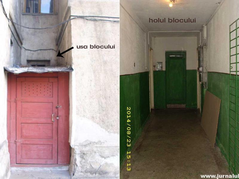 """FOTO – ȘTIREA TA pe Jurnalul24: Construcţie """"genială"""" în uşa blocului! A construit un depozit în uşa de evacuare în caz de incendiu a blocului"""