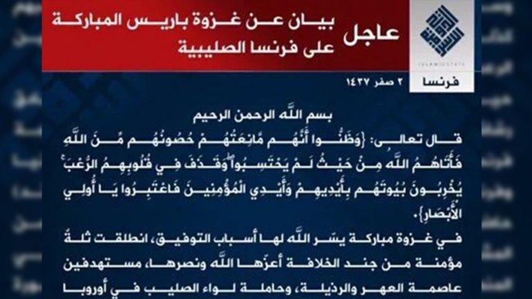 STATUL Islamic revendică printr-un comunicat atacurile de la Paris