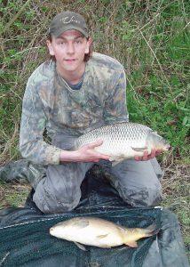 A brace of carp caught using the lift method