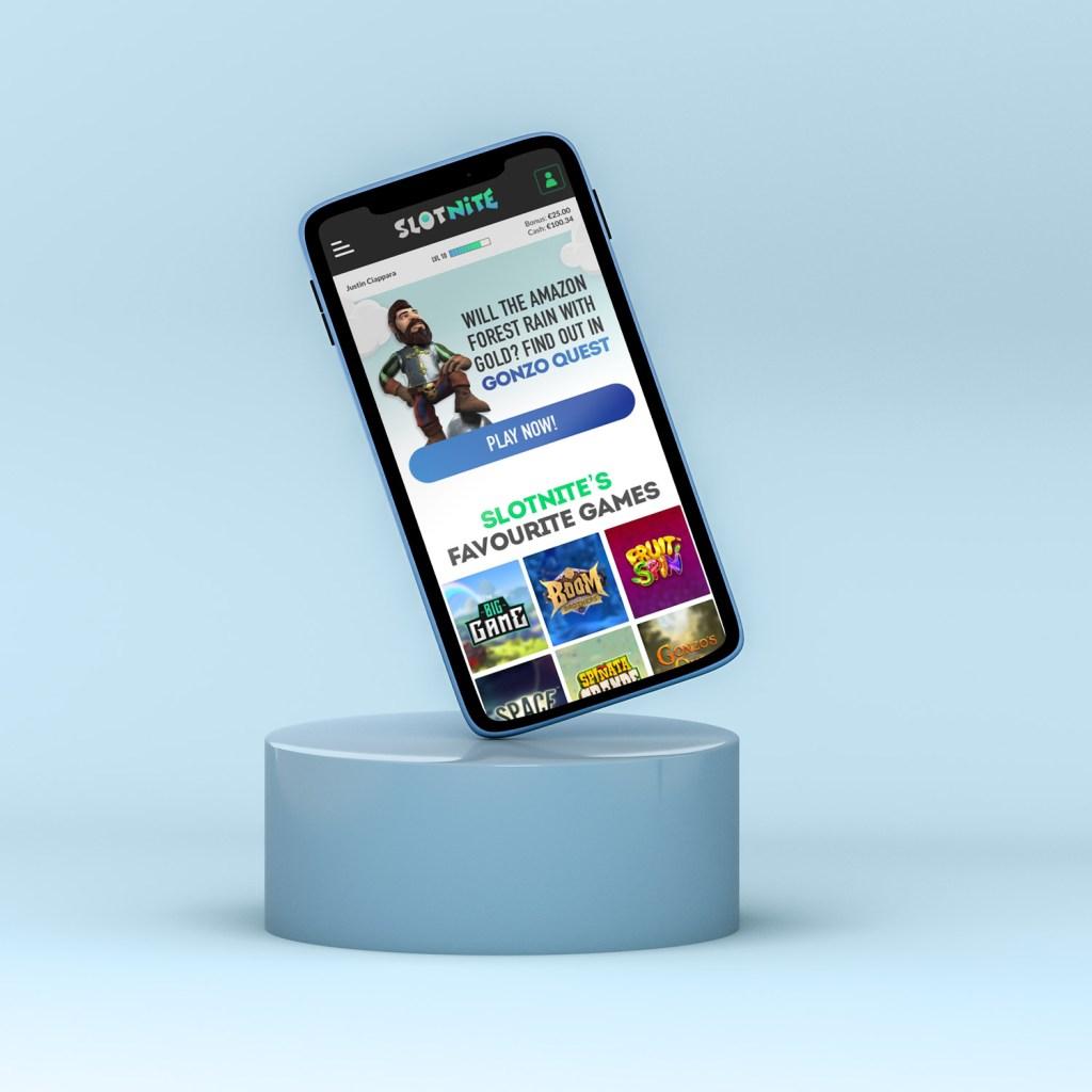 Slotnite Mobile website mockup