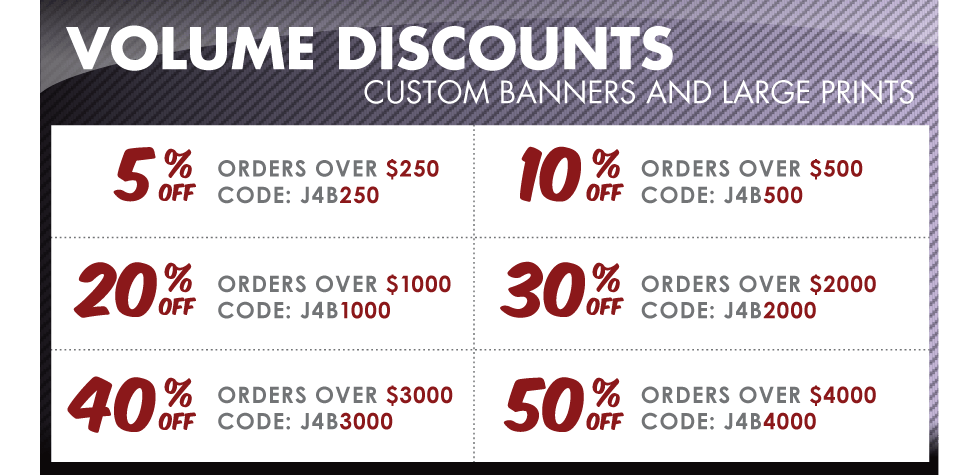 Volume Discount Coupons Just4banners
