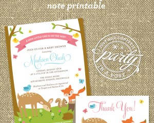 Woodland Animals Party In A Post with Free Thank You Note Printable