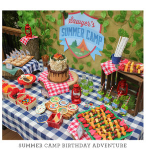 just add confetti celebrations, just add confetti, summer camp birthday party, kids birthday party, camp party, camping birthday party, merit badges, summer camp, kids birthday, children's birthday, smores cake, smores, trail mix bar