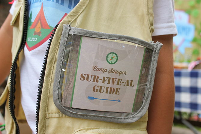 sur-five-al guide, Summer Camp Tablescape, camping, s'mores, kids party, lanterns, trail mix, camping party, summer camp party