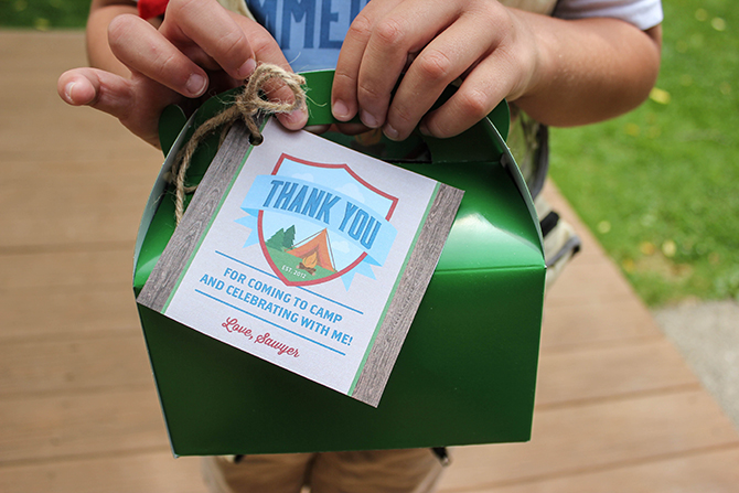 thank you, favor boxes, scavenger hunt, Summer Camp Tablescape, camping, s'mores, kids party, lanterns, trail mix, camping party, summer camp party