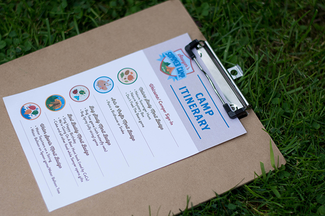 camp itinerary, games, birthday activity, Summer Camp Tablescape, camping, s'mores, kids party, lanterns, trail mix, camping party, summer camp party