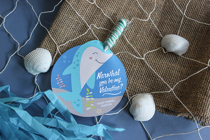 Twisty Lollipop Narwhal Valentine, Narwhal Valentine, Whale Valentine, Kids Valentine, School Valentine, Classroom Valentine, DIY Valentine, Just Add Confetti, Just Add Confetti printable, free printable, free valentine printable, lollipop horn, Narwhal, Narwhal You Be My Valentine?, printable, twisty lollipop valentines