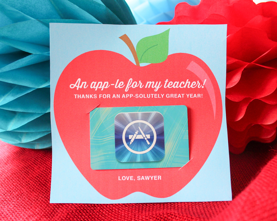 "An ""app-le"" for Teacher: App Store Gift Card Idea and Printable, free printable, teacher appreciation, teacher gift, An ""app-le"" for Teacher, App Store Gift Card teacher gift, App Store Gift Card idea, Just Add Confetti, Just Add Confetti printable, App Store teacher gift, thank a teacher"