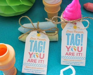 """""""Dear Parents, Tag! You Are It!"""" end of the school year gift idea"""