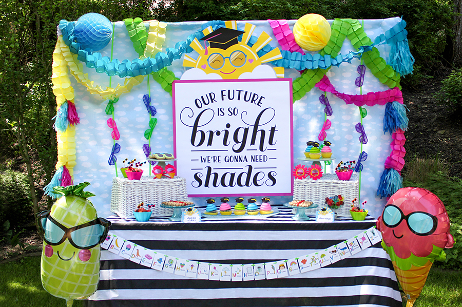 Our Future Is So Bright We're Gonna Need Shades, Our Future Is So Bright We're Gonna Need Shades preschool graduation party, future so bright, gonna need shades, Just Add Confetti, preschool graduation party, shades, sunglasses, kindergarten graduation party, middle school graduation party, graduation party, preschool graduation, pre-K graduation, sunshine, sun wearing sunglasses crazy sunglasses, party planner, party blogger, kid's graduation party, creative kid's party, sunglass cookies, class rings ring pops, diploma cookies, sun plates, sunshine, cloud napkins, cookie place cards, Just Add Confetti printables