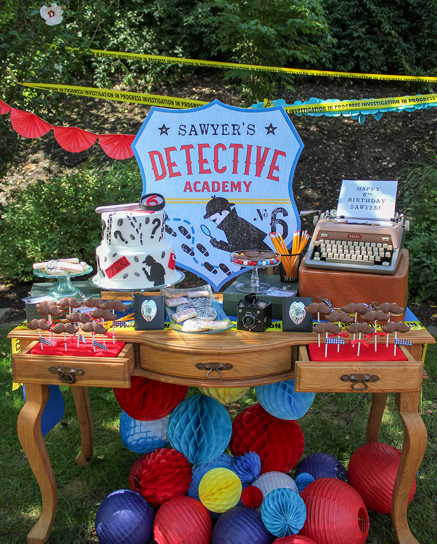 detective party, vintage detective birthday party, Sawyer's Vintage Detective Academy 6th Birthday Party, detective birthday party, vintage detective party, detective, vintage, birthday party, kid's birthday party, Just Add Confetti, Just Add Confetti printables, party blogger, chocolate mustaches, special agent badges, sherlock holmes hats, magnifying glasses, detective academy, super sleuth, gumshoe, fingerprint code animals, composite sketches, hot on the trail, solve the case, chocolate badges, special detective, Funny Party Hats, Rosebud Chocolates, party stylist, Pittsburgh blogger