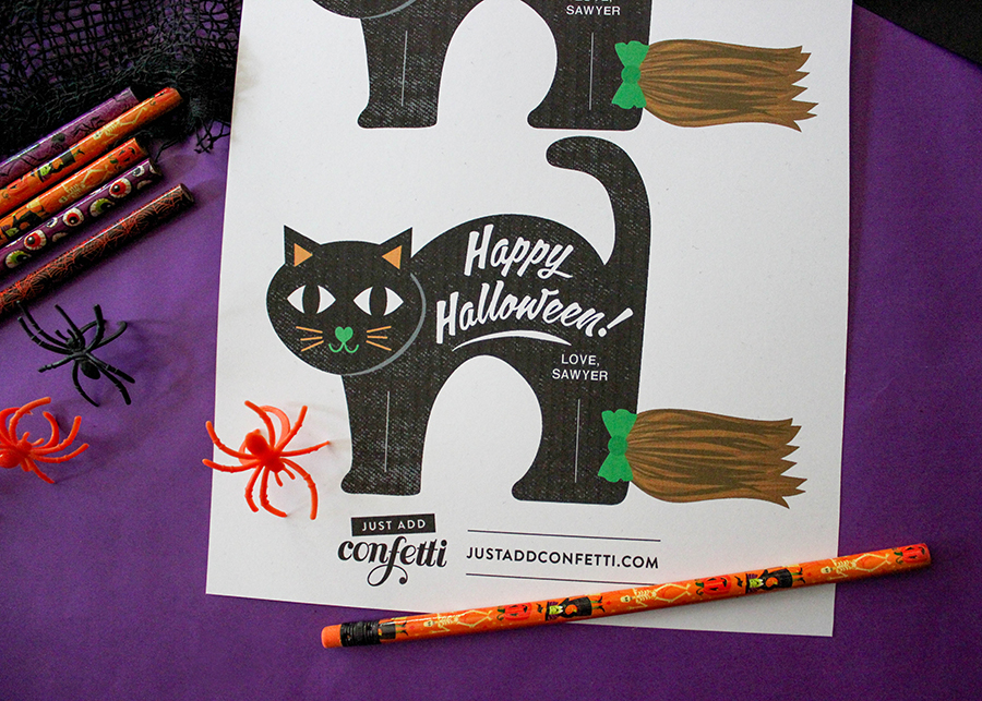 Black Cat, Black Cats Riding Pencil Brooms, non-candy halloween treat, classroom treat, classroom Halloween treat, Halloween gift, teal pumpkin project, Halloween, kids Halloween, free printable, black cat printable, Just Add Confetti, Just Add Confetti printables, Halloween black cat, pencil broom, Halloween fun,