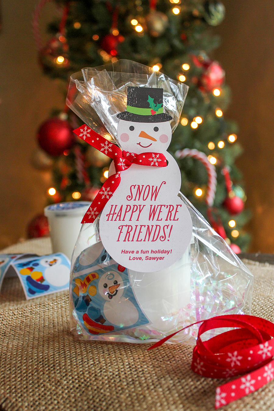 """""""Snow Happy We're Friends"""" classroom gift idea, Christmas gift, gift ideas, snowman gift tag, snowman with ribbon scarf, ribbon scarf, snowman, gift tag, snow happy, snow happy we're friends, kids Christmas gift, classroom holiday gift, Just Add Confetti, free printable, snowman slime, dress-a-snowman stickers, snow,"""