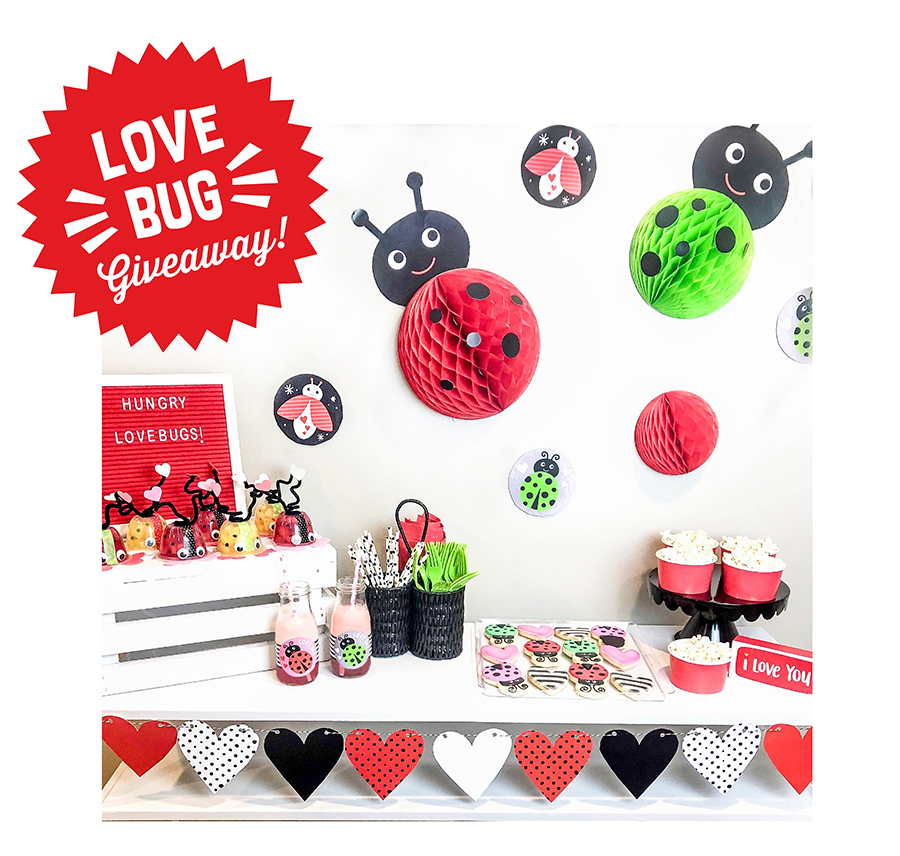 Love Bug playdate, love bug giveaway, valentines day, kids valentines day, kids valentines day party, giveaway, love bug, Kids Valentine's Day Love Bug Party Giveaway, Just Add Confetti, Legally Crafty, Sprinkles and Confetti, free printables, Valentine's Day giveaway, Love Bug printables, classroom valentines, bug classroom valentines, love bug snack cups,