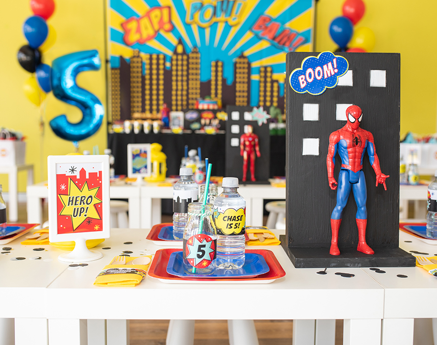 superhero party, superhero, modern superhero party, superhero kids party, My Little Party Australia, Just Add Confetti, free printables, etsy shop, superhero foods, creative food, superhero birthday, party blogger,
