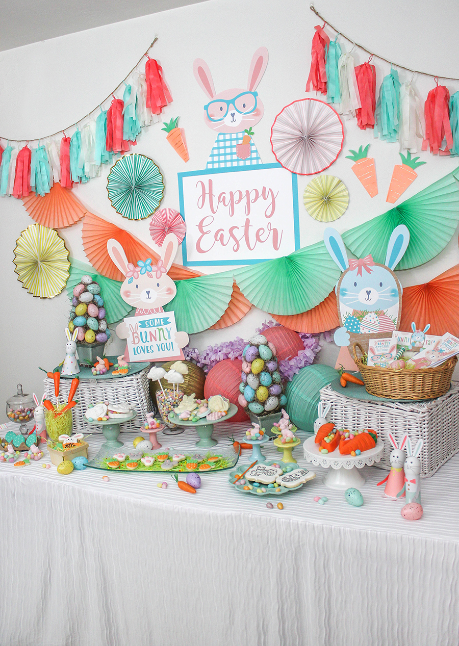 easter party, bunny, Easter, easter bunny, giveaway, Whimsical Bunny Bonanza Easter Party, Just Add Confetti, Sugar & Icing Cookie Co., My Favorite Sweets, Lou & Pepper Party Shop, The Folding Table Cloth, Easter giveaway, free printables, Etsy shop, somebunny loves you, diy party, party decor, party ideas, Easter party ideas