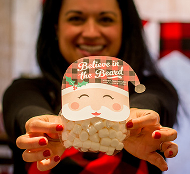 """Believe in the Beard"" Treat Idea, marshmallow treat, santa, christmas,"