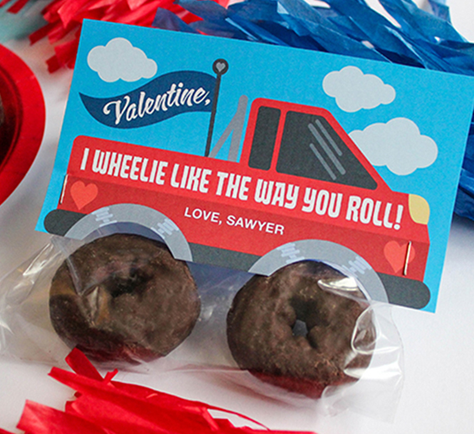 monster truck donut valentine, donut valentine, donut truck, donut tires, truck valentine, classroom valentine, kids valentine