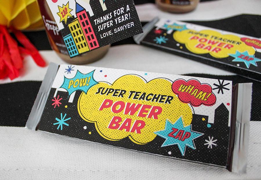 Superhero Teacher Appreciation Gift Idea, teacher appreciation, superhero teacher, super teacher, superhero teacher gift, teacher, superhero, super teacher power bar, not all superheroes wear capes, Just Add Confetti, free printable, teacher gift,