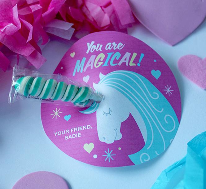 twisty lollipop unicorn valentine, unicorn, unicorn valentine, kids valentine, school valentine, classroom valentine