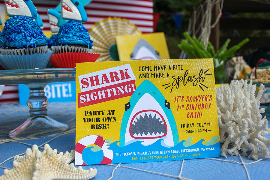 shark party, splash bash, water party, shark waterslide, My Mind's Eye, Just Add Confetti, shark attack, boy party, shark party ideas, shark party decorations, shark party foods, shark party games, jawsome, shark