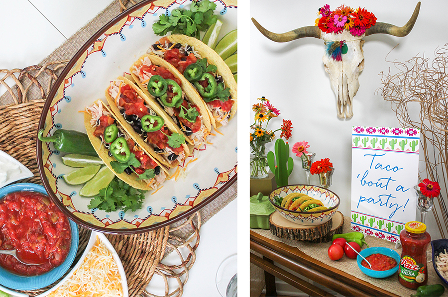 """""""All We Need Are Friends and Tacos"""" Southwest Boho Inspired Taco Night Party, Southwest Boho Inspired Taco Night Party, taco night, Pace salsa, Pace Picante Sauce, brand partnership, taco 'bout a party, tacos, cactus, cacti, steer skull, steer skull with flowers, pillow seating, pillow floor seating, cream catcher, DIY dream catcher, dreamcatcher, DIY craft tutorial, make your own large boho dream catcher, Pace taco night, Just Add Confetti, Pace"""