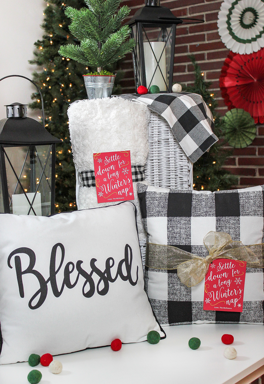 settle down for a long winter's nap, winter's nap, throw pillow Christmas gift, throw blanket Christmas gift, gift tag, free printable, pillow and blanket, Throw pillow and blanket Christmas gift, Just Add Confetti, gift ideas,