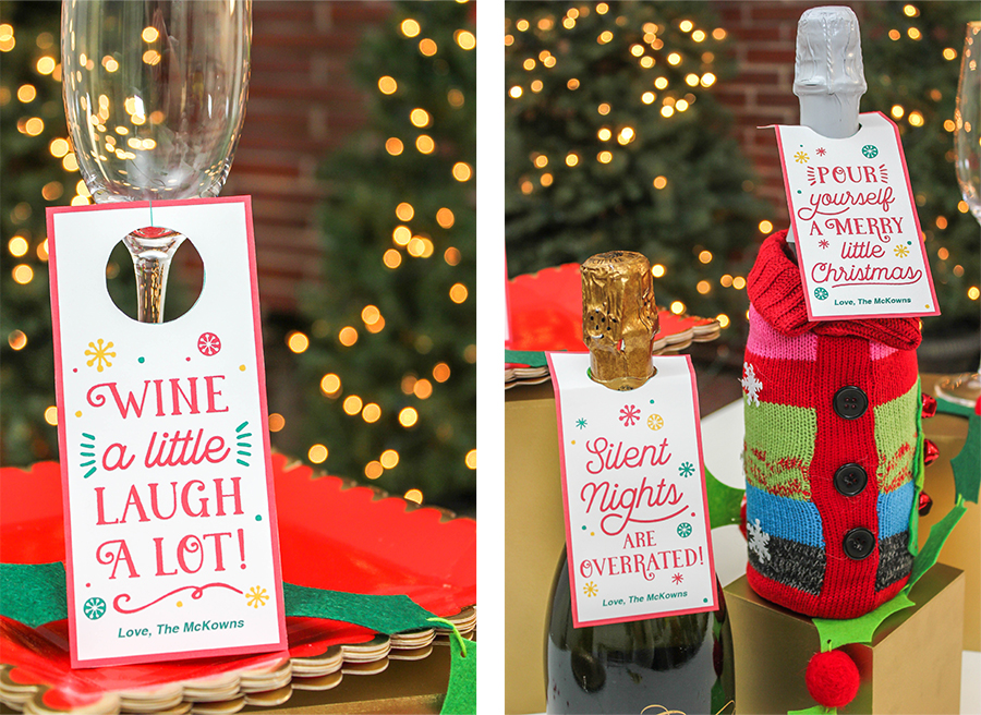 christmas wine bottle gift tags, Christmas wine bottle gift idea, Just Add Confetti, wine tags, gift tags, slient nights are overrated, wine a little laugh a lot, pour yourself a merry little Christmas, free printables, wine, wine gift, wine tag printable, ugly sweater wine gift bag, wine bag, sweater wine bag,